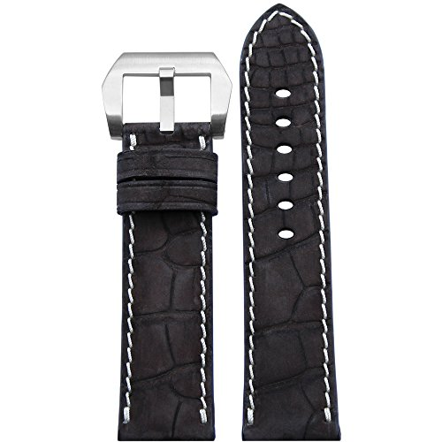 24mm Mocha Genuine Nubuck Alligator Watch Strap with White Stitching 114x82 by Panatime