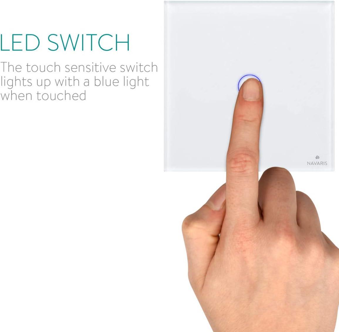 3 voies T/él/écommande multi-unit/és Vitre en verre cristal Charge maximale : 2000 W Home Bureau Interrupteur tactile sans fil avec r/écepteur avec affichage LED
