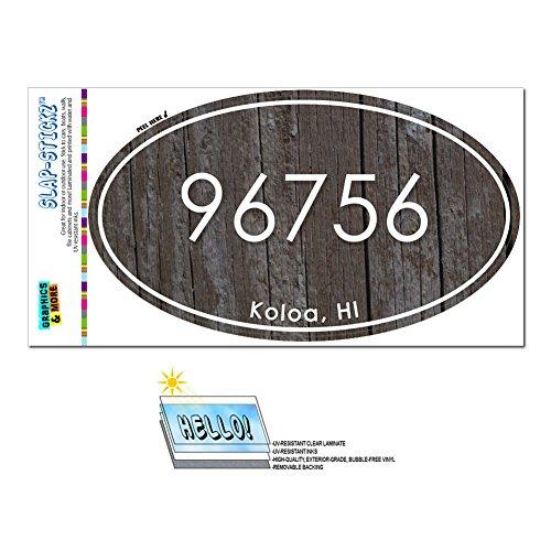 Graphics and More Zip Code 96756 Koloa, HI Euro Oval Window Bumper Glossy Laminated Sticker - Wood - Hi Koloa