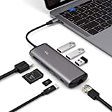 USB C MultiPort Adapter, USB C Hub With 4K HDMI, SD&TF Card Reader, PD Charger Port, Gigabit Ethernet, 8 in 1 Combo Dock With 3 USB 3.0 Ports Compatible Macbook pro 2017/2018, Surface Go,Ipad Pro.