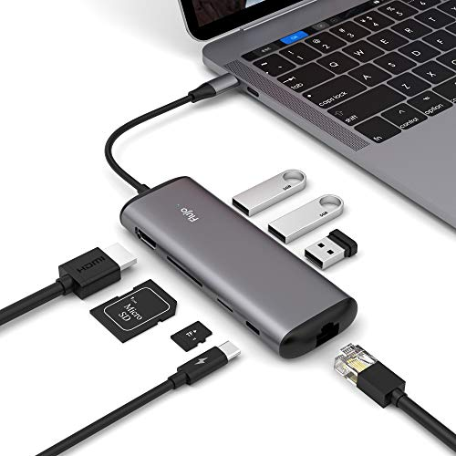 ter, USB C Hub with 4K HDMI, SD&TF Card Reader, PD Charger Port, Gigabit Ethernet, 8 in 1 Combo Dock with 3 USB 3.0 Ports Compatible MacBook pro 2017/2018, Surface Go,Ipad Pro. ()