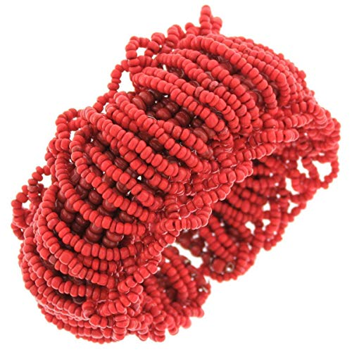 - Trendy Coral RED Handmade Seed Beads Flex Cuff Bracelet YE-2191