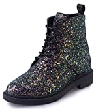 IDIFU Women's Glitter Sequins Low Chunky Heels Lace Up Martin Ankle Boots Short Booties (Black, 7.5 B(M) US)