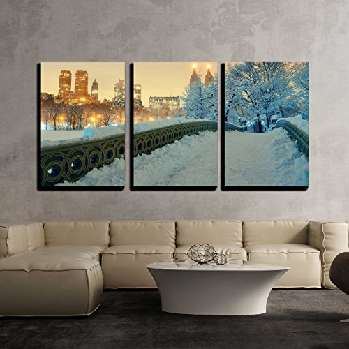 wall26 - 3 Piece Canvas Wall Art - Central Park Winter with Skyscrapers and Bow Bridge in Midtown Manhattan - Modern Home Decor Stretched and Framed Ready to Hang - 24