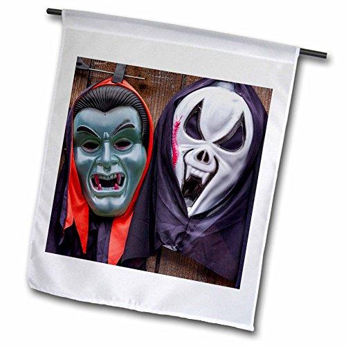Danita Delimont - Objects - Romania, Transylvania, souvenir market, horror themed masks - 18 x 27 inch Garden Flag (Custom Halloween Masks Photo)