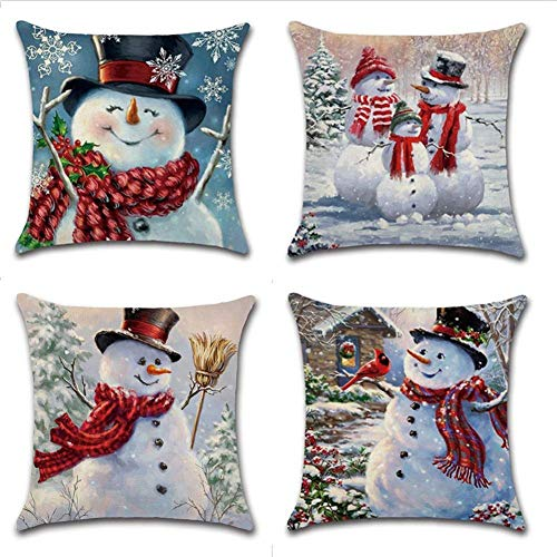 PSDWETS Christmas Tree Snowman Decorations Pillow Covers Set of 4 Christmas Winter Decor Throw Pillow Covers Cushion Cover 18 X 18