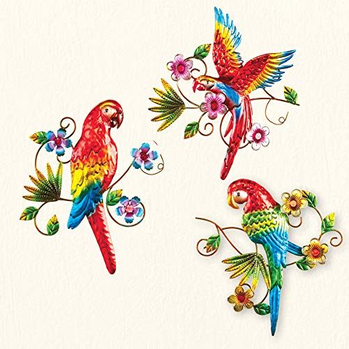 Collections Etc Tropical Bright Parrot Metal Wall Trio with Scrolling Greenery - Decorative Accent for Any Room in (Tropical Wall Hanging)