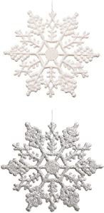 """Plastic Glitter Snowflake - Pack of 48 Multiple Color Snowflakes - 4"""" Hanging Sparkling Christmas Snowflakes - Snowflake Decorations Christmas Ornaments (White/ Silver)"""