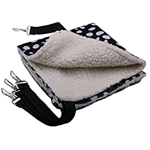 """Sdoot Cat Pet Cagre Hammock Bed, 14""""x14"""" Double Sided Available Black & White Dots Soft & Comfortable Hanging Pet Hammock Bed Supplies for Cats/Small Dogs/Rabbits/other Small Animals"""