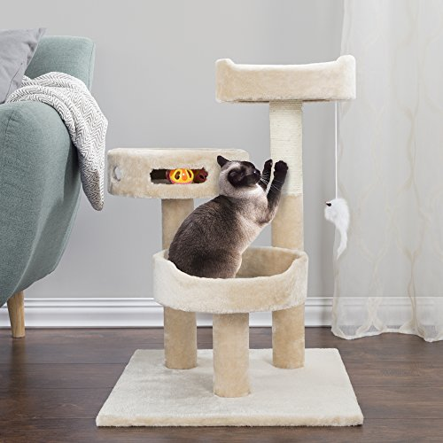PETMAKER Cat Tree 3 Tier 2 Hanging Toys A 3 Ball Play Area and Scratching Post, 27.5'', Tan by PETMAKER (Image #3)