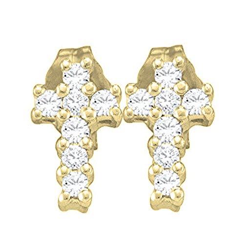 0.25 Carat (ctw) 10K Yellow Gold Round Cut White Diamond Ladies Cross Stud Earrings 1/4 (0.25 Ct Cross)