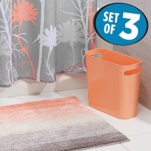 Mdesign Floral Fabric Shower Curtain Ombre Microfiber Bathroom Accent Rug Wastebasket Trash Can Set Of 3 Coral Gray