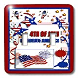 3dRose lsp_20170_2 4Th Of July Celebrate America Flag Stars And Firecrackers Double Toggle Switch