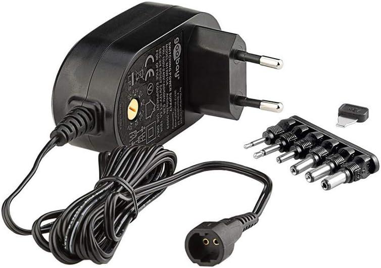 Goobay 59032 - Fuente de alimentación Universal con un máximo de 18 W/1500 mAh con 6 Clavijas de Enchufe DC, Negro