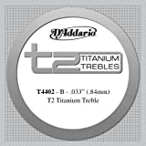 D'Addario T2 Titanium Treble Classical Guitar Single String, Extra-Hard Tension, Second String