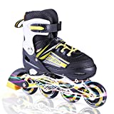 Kuxuan Sayo Inline Skates Adjustable for Kids,Boys Rollerblades with All Wheels Light up,Fun Illuminating for Girls and Youth - Yellow S