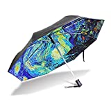 YZGO Outer Black Umbrella Painting Artwork Van Gogh's Starry Night UV Anti Lightweight Parasol Elegant Reverse 3 folding Drop Sturdy Umbrella Special Gifts for Business & Personal For Sale