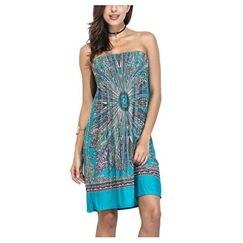 Womens Bohemian Vintage Tube Dress Boho Strapless Dress Sexy Summer Beachwear - Summer Dress Tube Top