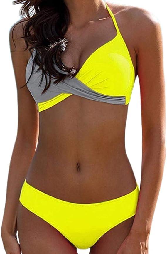 Costume da Bagno Bikini da Spiaggia Push-Up per Bikini A Fascia Fasciato da Donna JGASHF
