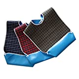 Multicolor Waterproof Adult Bibs, Clothing Protector with Crumb Catcher, Cotton Polyester Blending + PVC, for Eating Washable Reusable (3 Color Option)