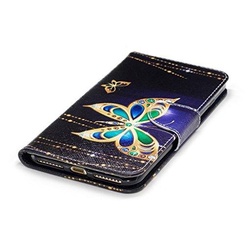 """Crisant Goldschmetterling Drucken Design schutzhülle für Apple iPhone 7 Plus 5.5"""" (5,5''),PU Leder Wallet Handytasche Flip Case Cover Etui Schutz Tasche mit Integrierten Card Kartensteckplätzen und St"""