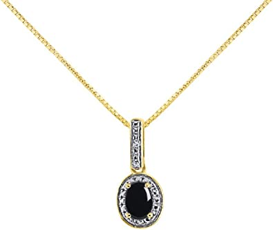 """14k Yellow Gold Oval Onyx And Diamond Pendant with 18/"""" Chain"""
