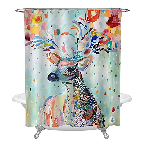 Hand Painted Abstract Deer Shower Curtain, Bohemian Style Deer with Colorful Florals Wreath on the Horns for Spring Home Decor for Women and Girls, Waterproof Washable Fabric, Green Red, 72 x 72