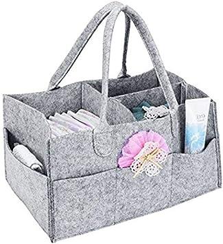 Sghjfj Caja de Almacenamiento de artículos Varios Caddie del pañal del bebé con la Cubierta Organizador Cesta de Almacenamiento portátil Bin Nursery Grandes Bolsas de Bolsa con divisores extraíbles