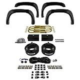 "Supreme Suspensions - Dodge 1500 3"" Front and 1"" Rear Lift Suspension CNC Machined (Black) Billet Ram Leveling Kit 4WD 4x4 + 4pc Front-Rear Bolt-on Rivet Style Textured Fender Flares"