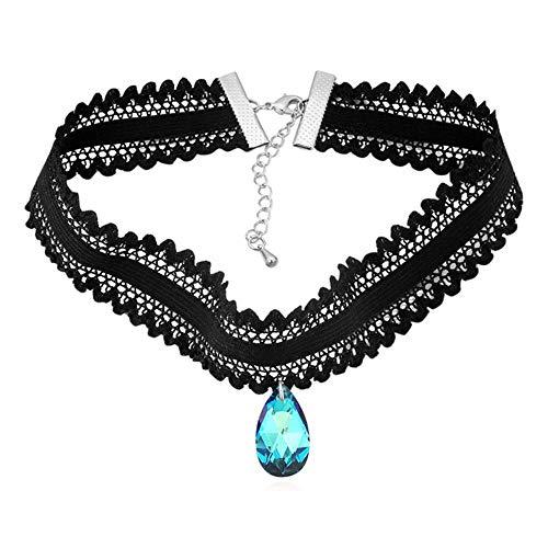 (Mayanyan Fashion Austrian Crystal lace Cropped Necklace Choker Lady Gift)