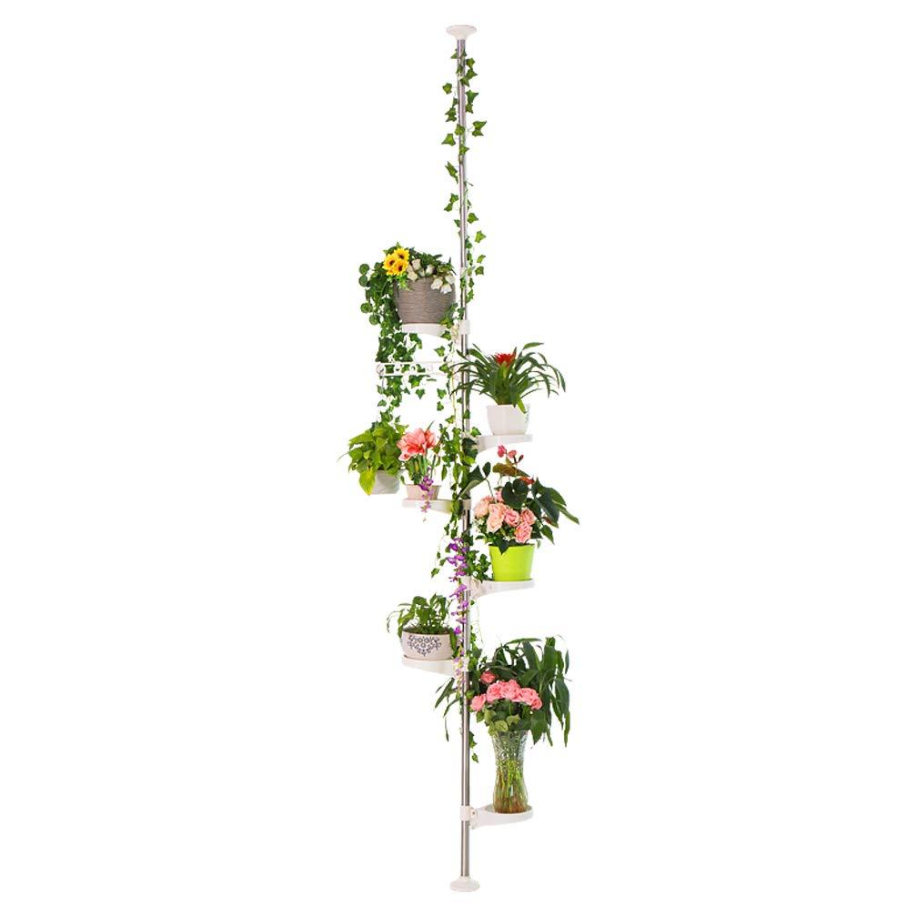 Hershii 7-Layer Tension Pole Plant Stand Indoor Decorative Metal Flower Pot Holder Display Rack Floor to Ceiling Adjustable Hanging Corner Shelf Space Saver - Ivory