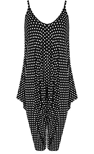 lunares Sleeveless Woman 21fashion Pea negro Black Jumpsuit Estampado de vCCqw05