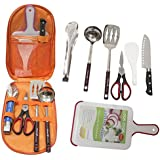 Camping Cookware Set,Portable 7 Piece Outdoor Indoor Camping Bbq Cooking Utensils Sets Cutting Board, Rice Paddle, Tongs, Scissors, Knife