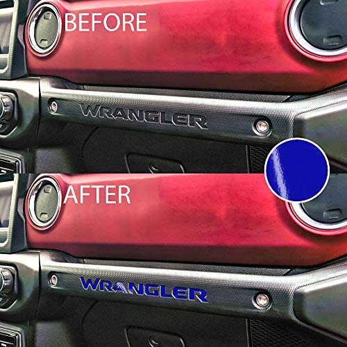 Bogar Tech Designs – Letter Insert Overlay Vinyl Decal Sticker Letters for Dashboard Glove Box Compatible with Jeep JL Wrangler 2018, Gloss Blue