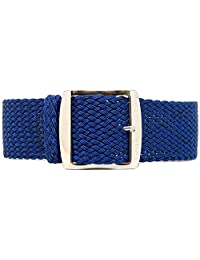 DaLuca Braided Nylon Perlon Watch Strap - Navy (Polished Buckle) : 24mm