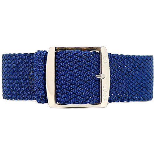 DaLuca Braided Nylon Perlon Watch Strap - Navy (Polished Buckle) : 24mm