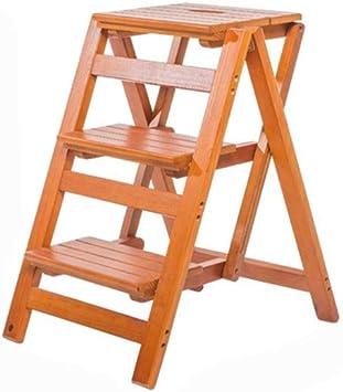 C-J-Xin Antideslizante escaleras de tijera de madera, madera maciza Escalera del taburete de tres pasos Soporte de flor/Revistero de Protección Ambiental de heces Escalera de casa: Amazon.es: Bricolaje y herramientas