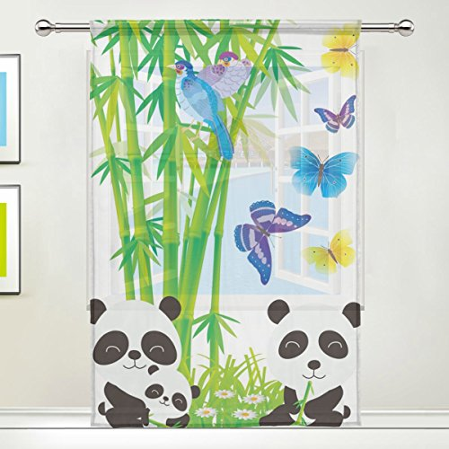 LEISISI Cute Bamboo Panda Butterflies Print Tulle Voile Door Window Room Sheer Curtain Drape 1 Panel Scarf Valances Wide Width Gauze Curtain for Bedroom Single panel 55x78(inch)