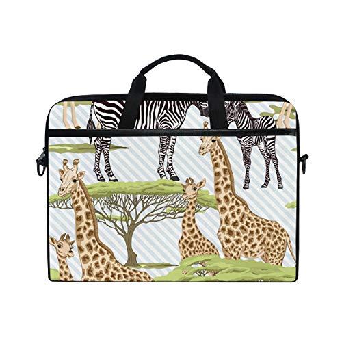 TropicalLife Laptop Bag Animal Giraffe Zebra Print Lightweight Briefcase Shoulder Messenger Bag Laptop Case Sleeve for 11.6-15 inch MacBook Pro, MacBook Air Laptop and Tablet