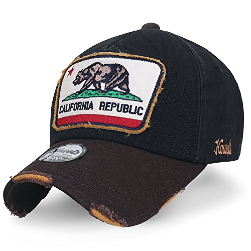 ililily Illustration Patch Distressed Cotton Baseball Cap Vintage Trucker Hat, Black (Bear Logo Fashion Cap)