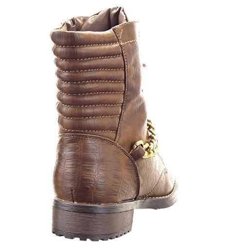 Sopily - Scarpe da Moda Stivaletti - Scarponcini Rangers donna Catena Zip Tacco a blocco 3.5 CM - soletta sintetico - foderato di pelliccia - Marrone