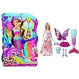Barbie Rainbow Lights Mermaid Doll and Fairytale Dress Up Barbie Doll Bundle