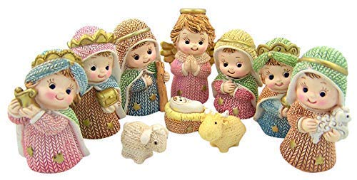 10 Pieces Small Whimsical Tabletop Christmas Nativity Set