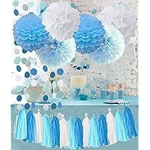 Bebé Azul y Blanco Azul Turquesa Papel de seda pompones Nieve Tema Fiesta Decoración Baby Boy Baby Shower/Fiesta De Cumpleaños Decoraciones de papel para primer cumpleaños de niño decoraciones Tassel–Guirnalda (Papel Guirnalda de círculo
