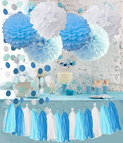 Birthday Party Decorations Baby Blue White Turquoise Blue Ti