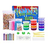 SuSenGo Super Slime Kit - 12 Colors Slime with 4 Pack Colorful Foam Balls, 250pcs Fresh Fruit Face Decoration, 2 Pack Grow in The Dark Powder, 6 Bottles Holographic Glitter Shake Jars for DIY Slime