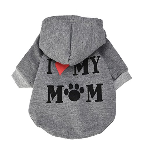 (Howstar Pet Clothes, Puppy Hoodie Sweater Dog Coat Warm Sweatshirt Love My Mom Printed Shirt (XS, Gray))