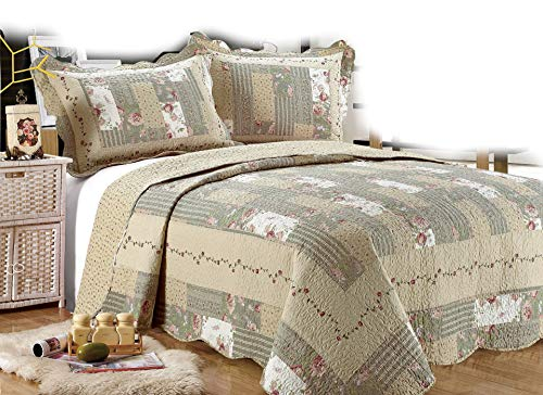 ALL FOR YOU 3-Piece Reversible Bedspread/Coverlet/Quilt Set-Beige, tan, Pink, Burgundy and Gray Green sage Prints (Oversized King 110
