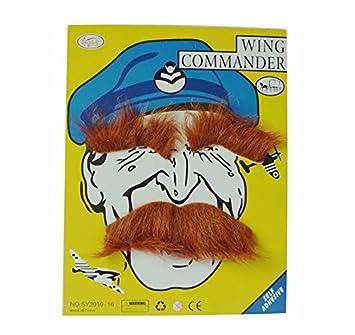 thematys Schnurr Bart braun mit Augenbrauen selbstklebend