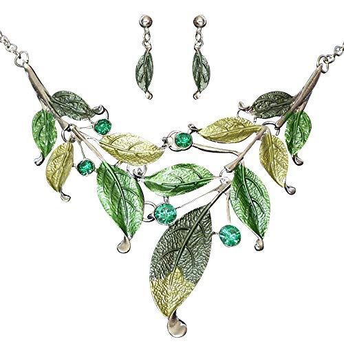 Seven And Eight S&E Women's Exaggerative Vintage Leafs Shape Crystal Joint Chain Collar Pendant Necklace Sets (Green)]()
